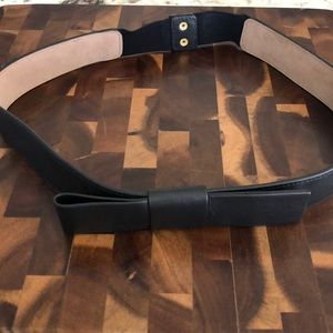 Ann Taylor Black Leather Belt; Bow Detail